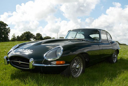 Jaguar E Type Fixed Head Coupe for hire - 40th Birthday Gift Idea